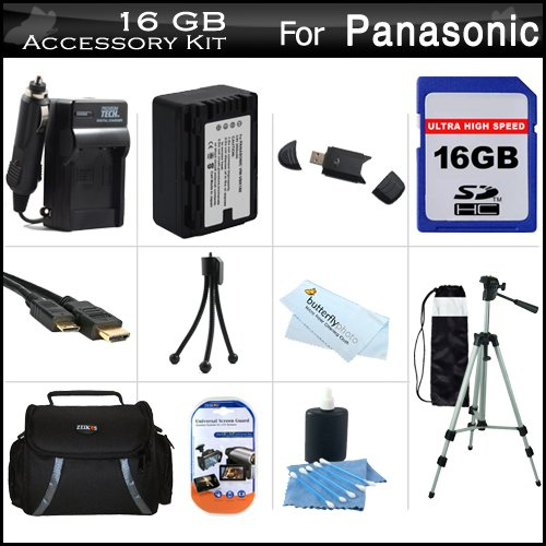 16GB Accessory Kit For Panasonic HC-V700, HC-V700M, HC-V500, HC-V500M, HC-V100, HC-V100M, HC-V10 Camcorder Includes 16GB High Speed SD Memory Card + Replacement (2000Mah) VW-VBK180 Battery + Ac/Dc Charger + Deluxe Case + 50 Tripod + Mini HDMI Cable +More by ButterflyPhoto