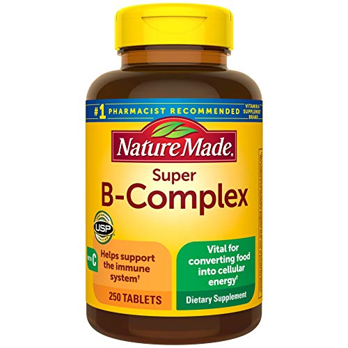 Nature Made Super B Complex with Vitamin C and Folic Acid, Dietary Supplement for Cellular Energy Support, 250 Tablets…