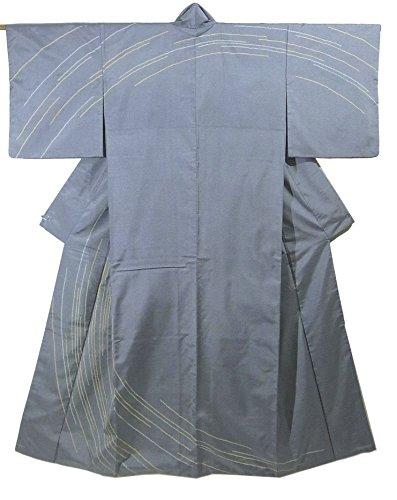 十分ですぴかぴか倉庫リサイクル 着物 訪問着  円を描くような曲線 紬 正絹 袷 裄65.5cm 身丈163cm