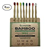 Bamboo Wood Toothbrush with Animal Designs | Pack Of 8 | Eco-Friendly | Colorful Design For Kids | Free Bonus Toy Surprise