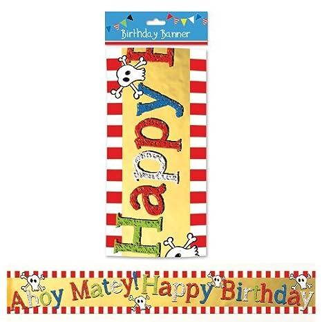 Pirata cumpleaños pancarta: Amazon.es: Hogar