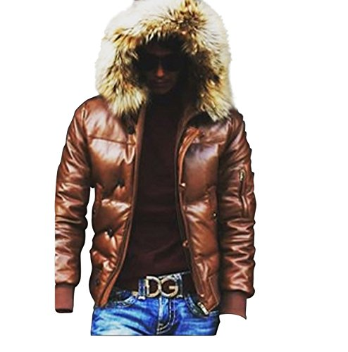 CD D C Mens Genuine Leather Hooded Hoodie Puffer Jacket Real Fur Trim Brown 5XL (Hoodie Trim Jacket)