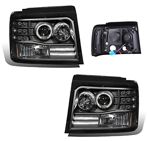 SPPC Black Projector Headlights Assembly with Halo Rings for Ford F-150/F-250/Bronco - (Pair) Includes Driver Left and Passenger Right Side Replacement (Halo Projector Headlights Installation)