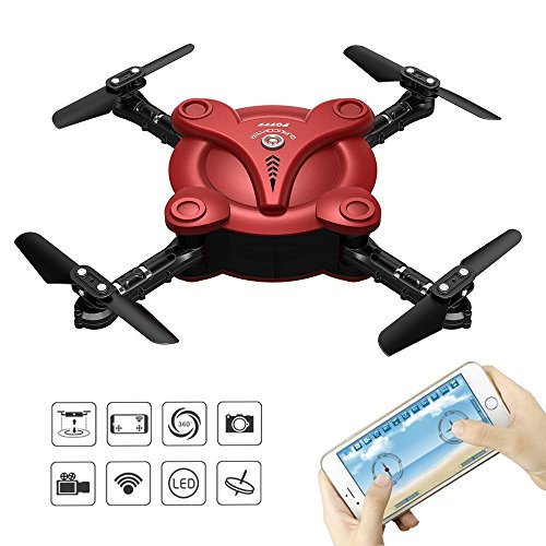 FPV Camera RC Quadcopter Drone with Live Video - Flexible Foldable Aerofoils App and Wifi Phone Control UAV 6-Axis Gyro Gravity Sensor RTF Helicopter Toys for Boys - Quad City Mall