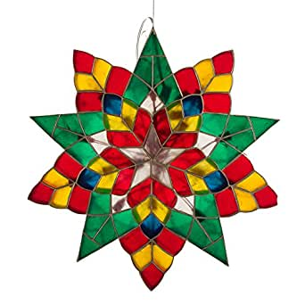 Gift Ko Handmade Poinsettia Parol Christmas Lantern 18 inch Colored