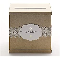 "Hayley Cherie - Gold Gift Card Box with White Lace and Cards Label - Gold Textured Finish - Perfect for Weddings, Baby Showers, Birthdays, Graduations - Large Size 10"" x 10"""