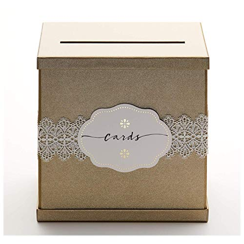Hayley Cherie - Gold Gift Card Box with White Lace and Cards Label - Gold Textured Finish - Perfect for Weddings, Baby Showers, Birthdays, Graduations - Large Size 10