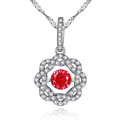 (MABELLA Sterling Silver Simulated Red Ruby Dancing Stone Necklace Flower Pendant,Gift for Women)