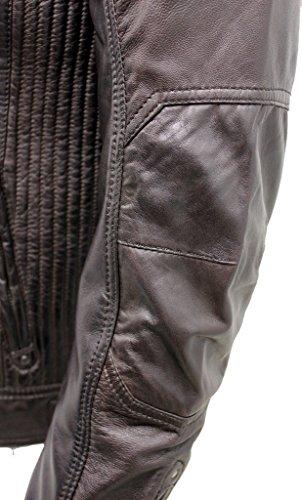 Veste de motard en cuir Nappa Marron pour homme