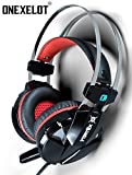 ONEXELOT 2018 New Model VORTEX Gaming Headset Over-Ear, LED, with Microphone, Volume Control, Surround Sound Gaming Headphones Dual 3.5mm Jacks/USB Plug for PC / Mac