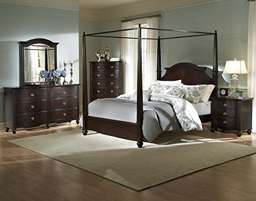 Vienna Youth Poster Canopy Full Bed, Nightstand, Dresser & Mirror in (Espresso Canopy Bed)