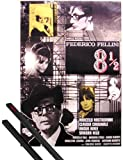 Poster + Hanger: 8 1/2 Poster (39x28 inches) Federico Fellini (Marcello Mastroiani) and 1 set of black 1art1 Poster Hangers