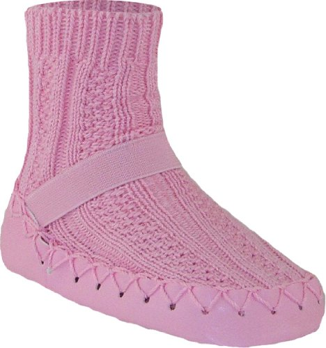 Nowali Baby Girls' Cable Knit Moccasin - Pink - 12 Months