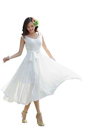 b0500ac41bf0 ilishop Women's Sleeveless Pleated Prom Party Chiffon Hot Summer Long Dress  White S