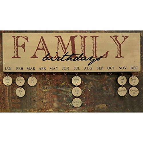 Family Birthday Calendar - Burgundy