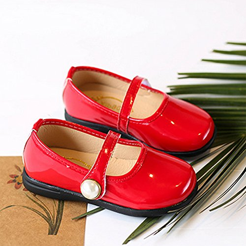 Toddler Girl Patent Leather Pearls Mary Jane Princess Dress Shoe Ballerina Flats Red Size 29 by LINKEY (Image #2)