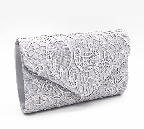 Envelope Bridal Bag silver Bridesmaid Purse Evening Women Bags Lace Wedding Clutch dwpSYqdI