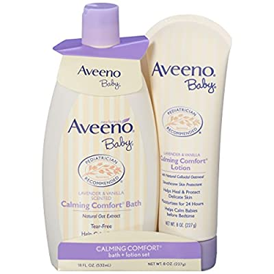 Aveeno Baby Calming Comfort Bath + Lotion Set, Baby Skin Care Products, 2 Items