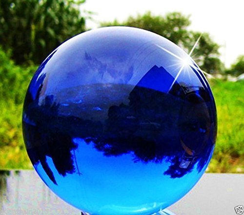 H&D 100mm Crystal Sphere Meditation Ball with Stand Art Decor K9 Crystal Prop Magic Crystal Healing Ball for Photography Home Decoration (sapphire blue)