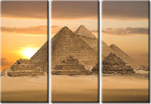 Picture Sensations Framed Huge 3-Panel Ancient Egypt Pyramid Giclee Canvas (Egypt Pyramids Picture)
