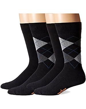 Men's Argyle Crew Socks, 4 Pair