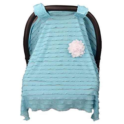 Dinlong Maternity Baby Stroller Sunshade Newborn Car Seat Carriage Blanket Sun Shade Rayshade Cover Basket Safety Cradle Cap Bassinet Canopy Visor (Sky Blue, 37.4x29.5 inches / 95x75 - 29.5 Inch Seats