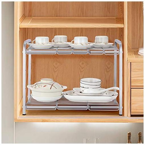 Kitchen Simple Trending 2 Tier Under Sink Expandable Cabinet Shelf Organizer Rack for Kitchen Bathroom Storage, Silver under-sink organizers