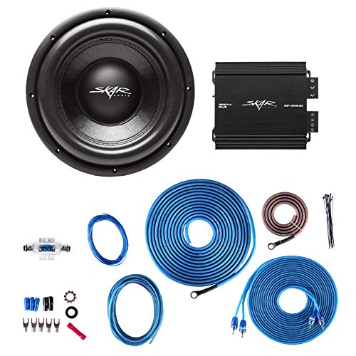 Skar Audio VD-10 D2 500W RMS Subwoofer with RP-350.1D Monoblock Sub Amplifier and 8 Gauge Amp Kit