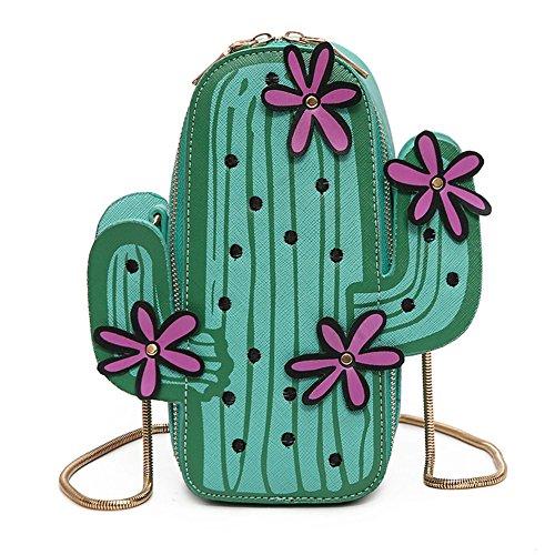 Naovio Women Crossbody Bag 3D Cactus Shaped PU Leather Small Shoulder Bags Purse