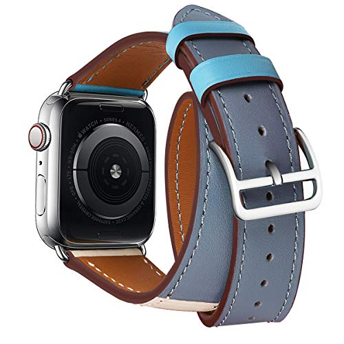 Genuine Leather Watch Band 44mm 42mm Wrist Strap Replacement for 44 mm Series 4 and Series 1 2 3 42 mm Replace Smartwatch Double Tour Loop Bracelet (Double -Gray Blue/Beige/Deep Blue, 44/42 mm)