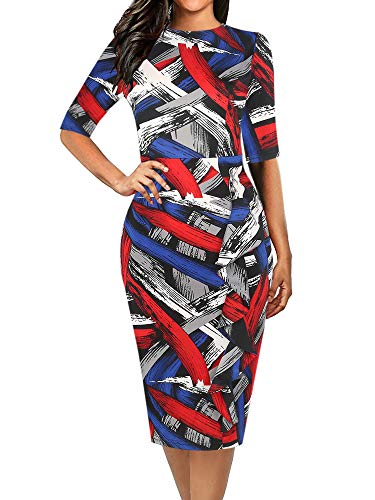 oxiuly Women's Elegant Striped Half Sleeve Round Neck Work Business Church Pencil Sheath Plus Dress OX055 (XXL, Red - Striped Sheath