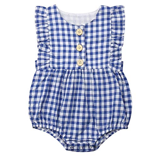 Urobanpeeg Newborn Toddler Baby Girl Ruffle Romper Bodysuit Flutter Sleeve Jumpsuit Outfit Clothes (0-6 Months, ()