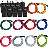 TDLTEK 10 Pack El Wire Neon Lights For Halloween, Burning Man, Party, Decoration