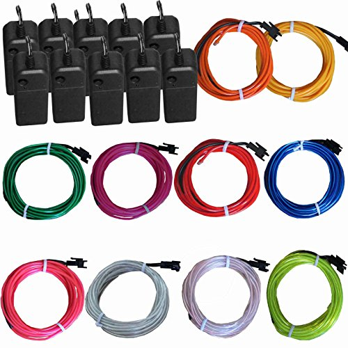 TDLTEK 10 Pack El Wire Neon Lights For Halloween, Burning Man, Party, Decoration by TDLTEK