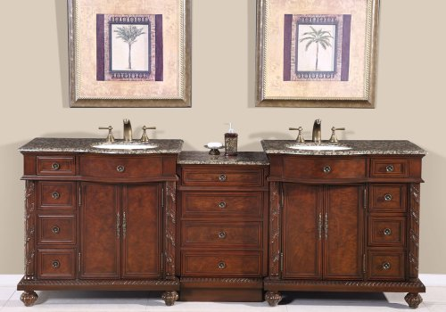 90″ Double Sink Baltic Brown Granite Top Bathroom Vanity Cabinet Lavatory Furniture 213BB For Sale