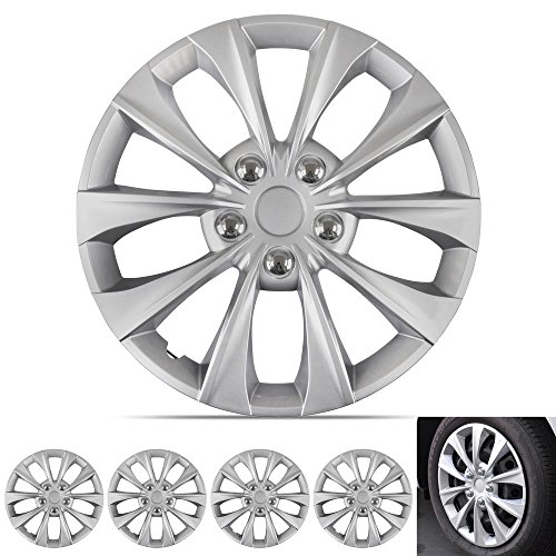 BDK Silver Hubcaps Wheel Covers (16 inch) - Four (4) Pieces Corrosion-Free & Sturdy - Full Heat & Impact Resistant Grade - OEM Replacement