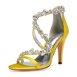Open Toe Zipper Back Strap High Heel Yellow Sandals