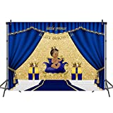 Mehofoto Royal Blue Baby Shower Backdrop Welcome Little Prince Photo Background 7x5ft Gifts and Gold Crown Backdrops for Baptism Christening Birthday