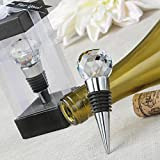 Glass Crystal Faceted Top Chrome Wine Bottle Stopper (72)