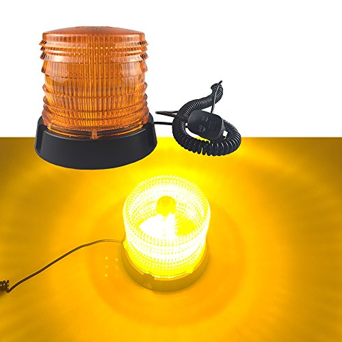 16 LED Waterproof Led Strobe Light, Emergency Flashing Warning Beacon for Truck Vehicle with 12v / 24V Cigarette Lighter Plug and Magnetic Base -