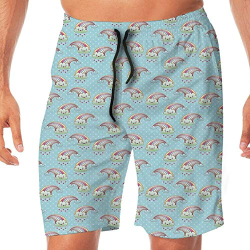 Haixia Men Printing Swimming Trunks Abstract Kawaii Clouds with Rainbow Arches by Haixia