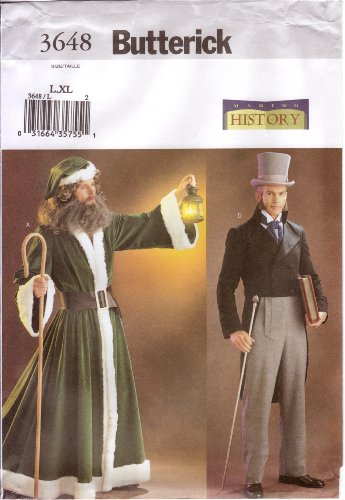 Father Christmas Costume Pattern (Butterick Sewing Pattern 3648 Dicken's Era Men's Historical Costumes, Size L (42-44), and XL (46-48) (Making History))