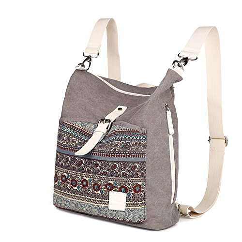 Grey Tote Handbags Girls Canvas Women Backpack Bags Shoulder Purse Light Halemet qBv4Zwt