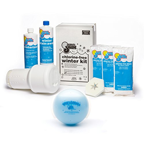 Bundle 2 Items: Super Pool Winterizing and Closing Chemical Kit for Pools up to 35,000 Gallons and Winter Ball Stain Preventer (Super Stain Treat)