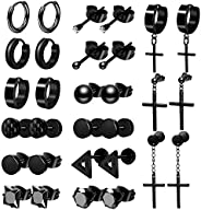ONESING 15 Pairs Earrings for Men Black Stud Earrings Mens Earrings Stainless Steel Stud Earrings Set for Men