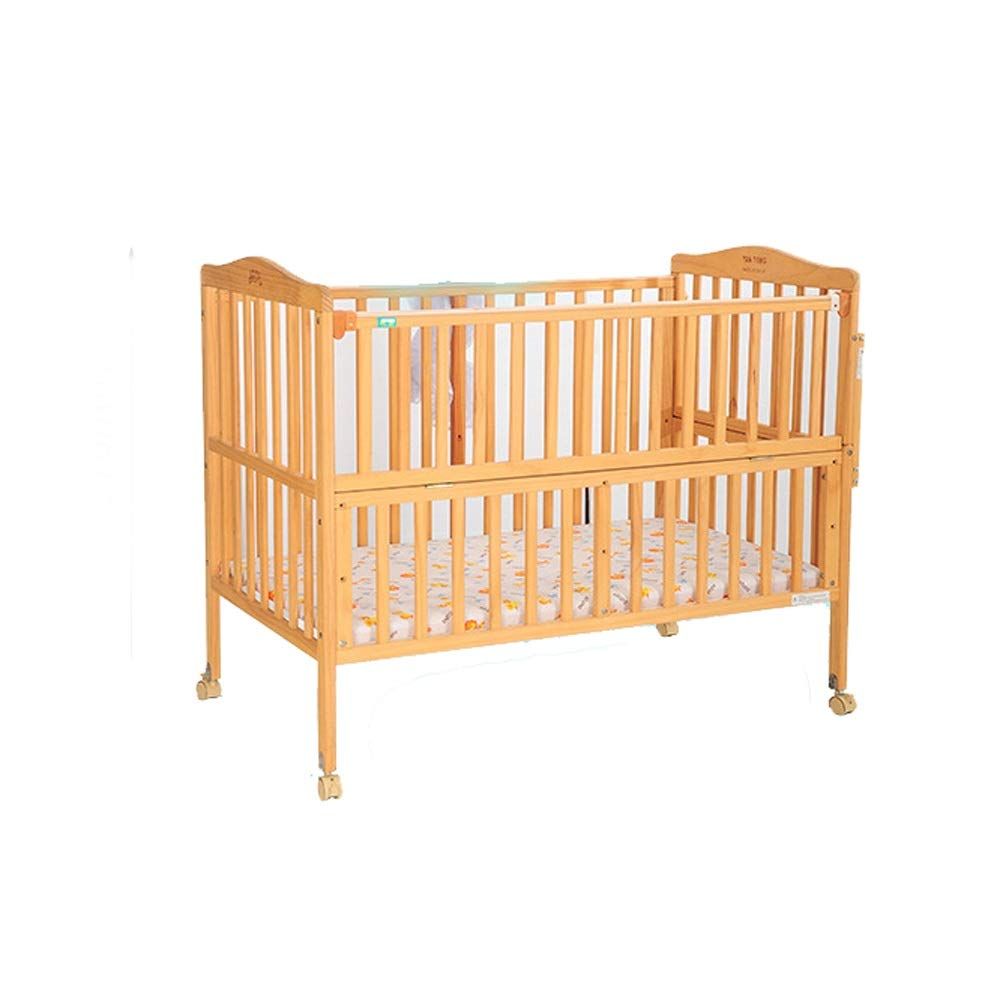 Baby Cot Baby Cot Children's Bed Solid Wood Non-Lacquered Bed Multifunctional Bed Pine Beds Cradle Bed Suitable for Babies to Sleep A Good Gift for Your Baby (Color : Natural, Size : 112.56897cm) by Jdeepued