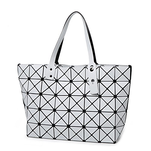 STRAWBERRYER Geometric Handbag Ladies Spring Matte Brushed Japanese Lingge Leather Shoulder Bags Satchel Tote Creamy