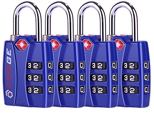 TSA Approved Luggage Locks, Alloy Body, Red Indicator, 1, 2 & 4 Pack (Blue 4 Pack)