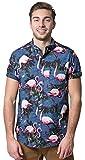 Brooklyn Athletics Men's Hawaiian Aloha Shirt Vintage Casual Button Down Tee, Navy/Pink Flamingo, Medium