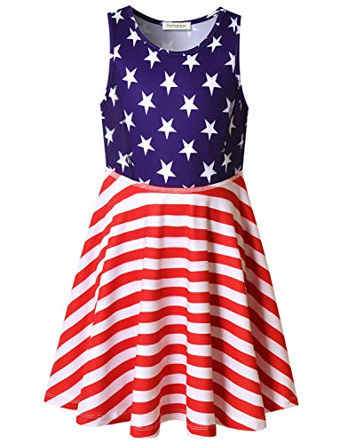 Perfashion USA Flag Print Dress for Little Girls Summer Soft 4th July Knee Length Birthday